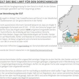 Seit dem 01.01.2017 Fangbegrenzung für Dorsch