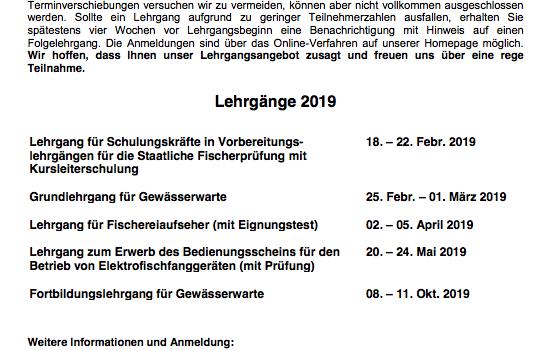 Weiterbildungsangebot 2019 am Insitut für Fischerei in Starnberg