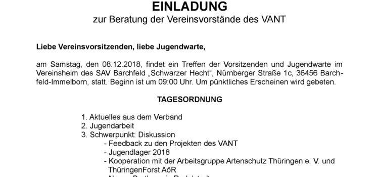 Beratung der Vereinsvorstände Süd-/Westthüringen 2018