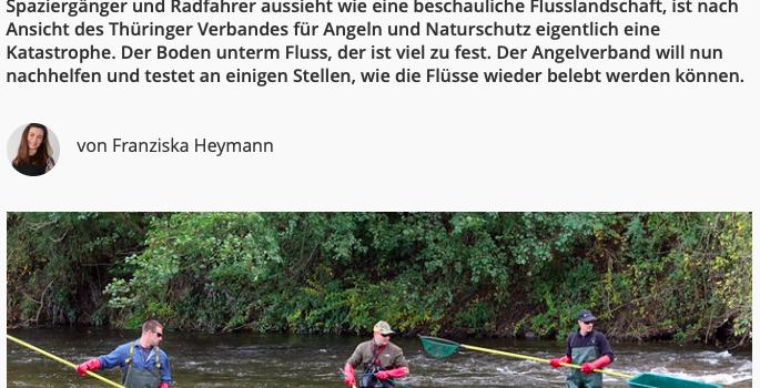 Das Laichplatzprojekt im MDR Thüringen Journal